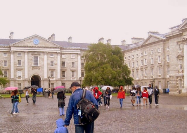 The front square of Trinity College Dublin on a rainy day