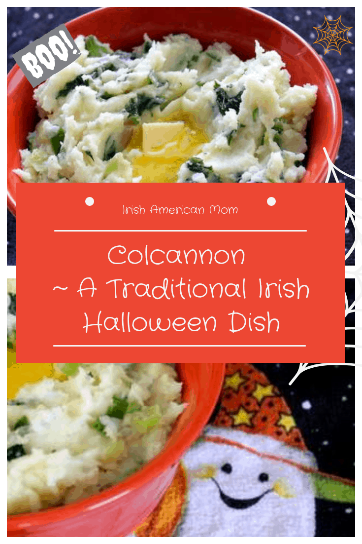 A graphic featuring bowls of colcannon with butter featuring Colcannon as a traditional Irish Halloween dish