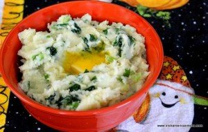 An orange bowl with colcannon for Halloween