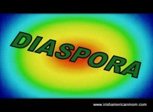 Multi colored circles with the word diaspora diagonally placed
