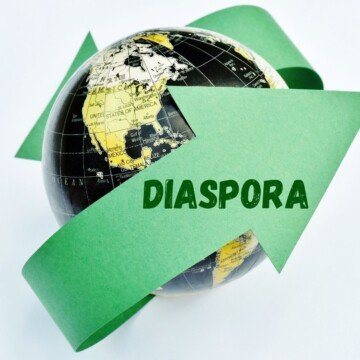 A green arrow wrapped around a globe with text on it