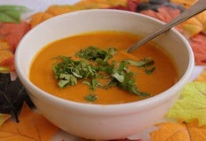Orange carrot soup for Halloween