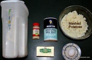 Flour, mashed potatoes, butter, salt and onion powder for Irish Potato Cakes