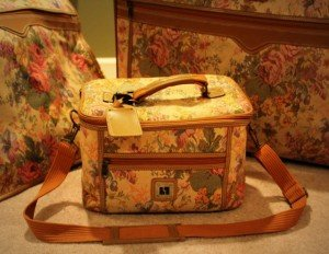 Tapestry or brocade make up carrying case from the 1980's