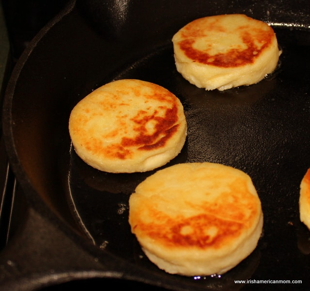 Frying Irish potato cakes in a skillet
