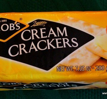 Orange packaging on a packet of jacob's cream crackers from Ireland