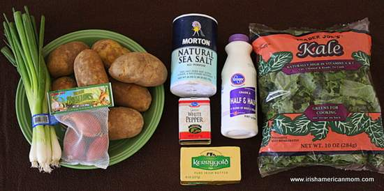 Every ingredient required to make Irish colcannon