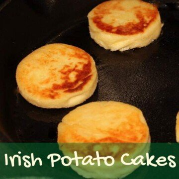 Potato cakes in a pan with text overlay