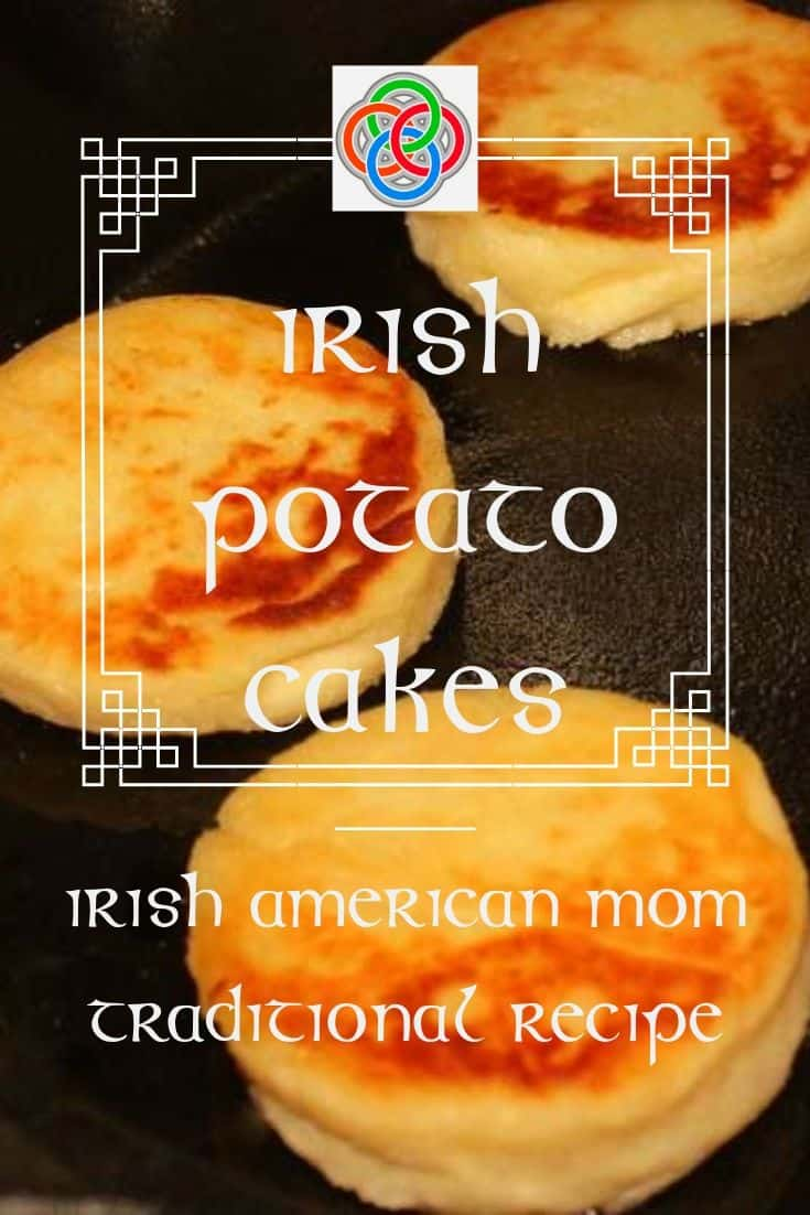 Three Irish Potato Cakes in a cast iron skillet for frying