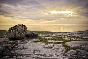 Watching the sunset over the Burren in County Clare Ireland