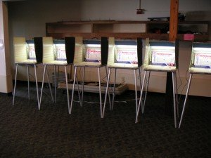 A line of American polling booths for election voting