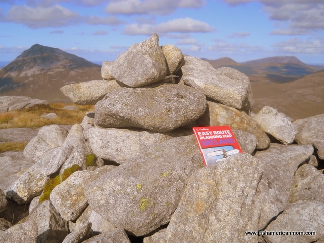 A cairn of stones left by hillwalkers on a mountain peak