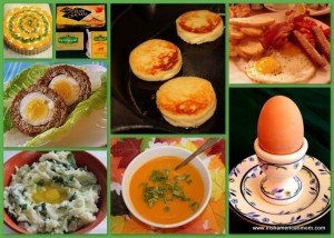 Irish fry, boiled egg, potato cakes and colcannon in an Irish food collage
