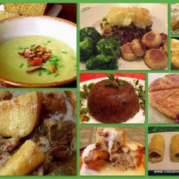 Irish food. soup and snacks in an Irish food collage