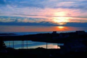 The sun setting over the Atlantic Ocean in Glassagh County Donegal