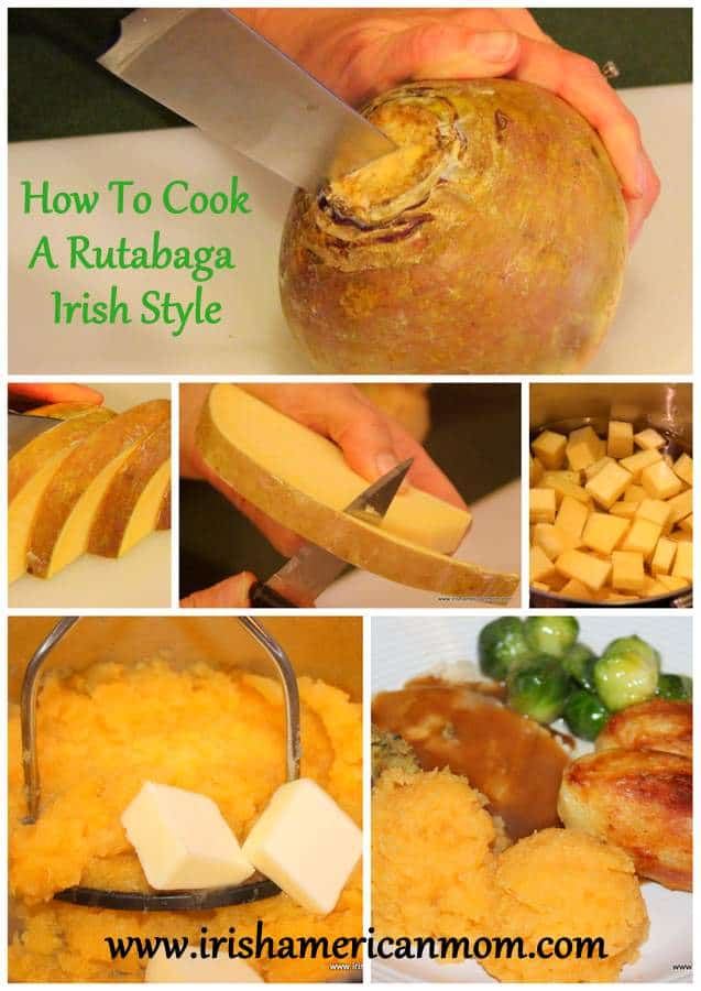 Collage of steps for cooking rutabaga