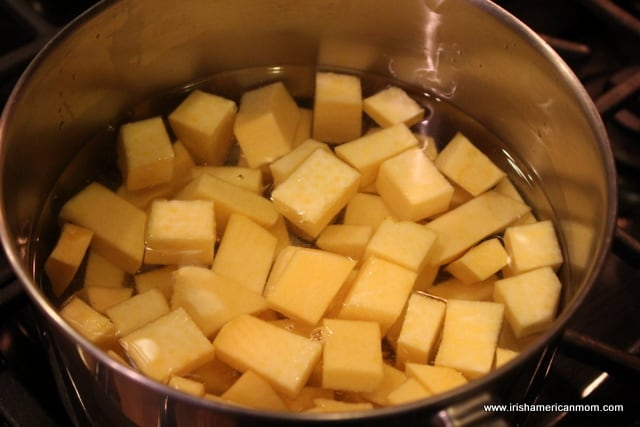 Diced rutabaga for boiling.