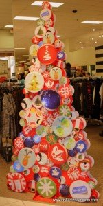 A Christmas tee made with cardboard at a mall