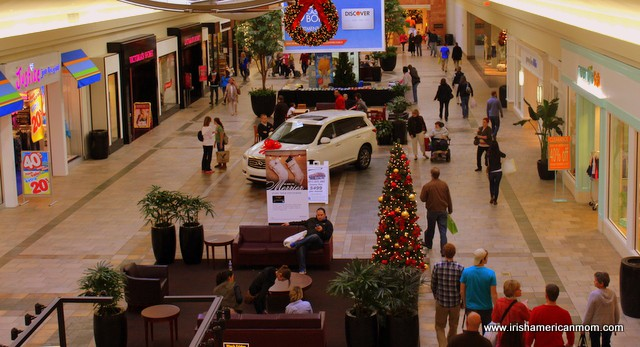 A group of people in a shopping mall