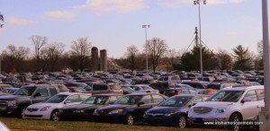 Cars parked beside silos in a mall in Kentucky
