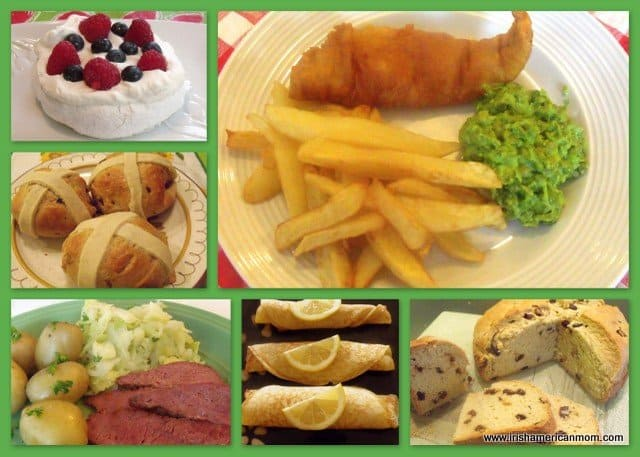 A collage of Irish food featuring pavlova, hot cross buns, fish and chips, pancakes, corned beef and soda bread