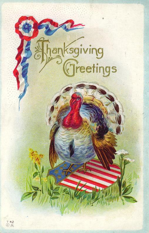 Vintage greeting card with a turkey standing on an American seal
