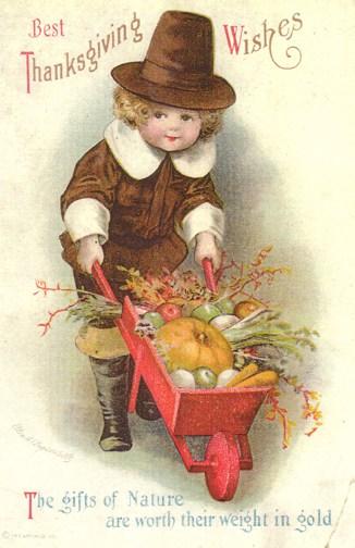 A pilgrim boy pushes a wheelbarrow with pumpkins and squash on a vintage Thanksgiving greeting card