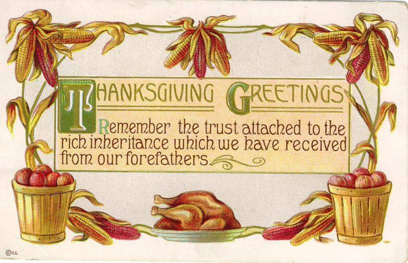 Vintage greeting card with text and a turkey on a platter
