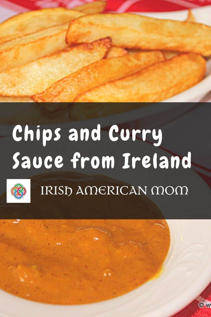 Curry sauce with Irish chips or french fries with text on a graphic