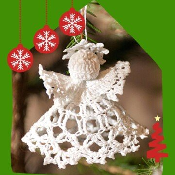 Crochet angel on a graphic with ornaments and a swirl Christmas tree icon