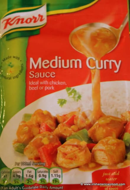 a Knorr packet of medium curry sauce instant mix