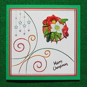Stitched hand made Christmas card