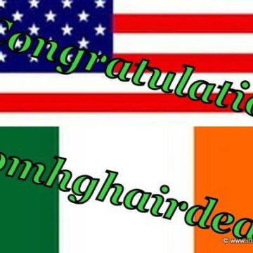 Comhghairdeas the Irish word for congratulations on an Irish and American flag graphic