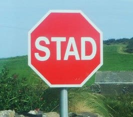 Stop sign in Ireland's Gaeltacht saying stad