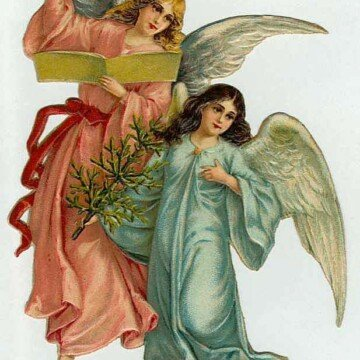 Two angels one in orange and one in green dress reading a hymnal
