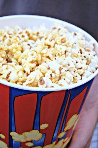 A container of movie popcorn
