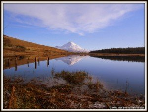 Snow topped peak of Mount Errigal In County Donegal Ireland