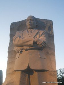 Martin Luther King Jr memorial with sculpture of the man with his arms folded