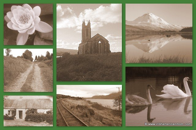 Black and white photo collage of Ireland