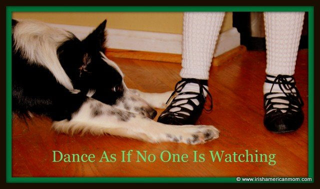 A border collie stares at a girl with Irish dancing soft shoes