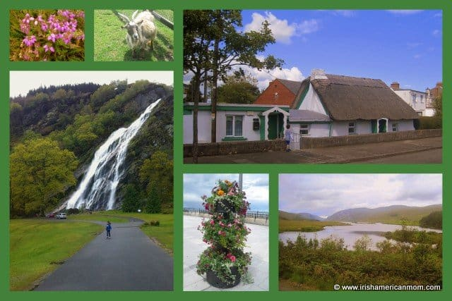 Powerscourt waterfall and thatched cottage in an Irish green framed photo collage