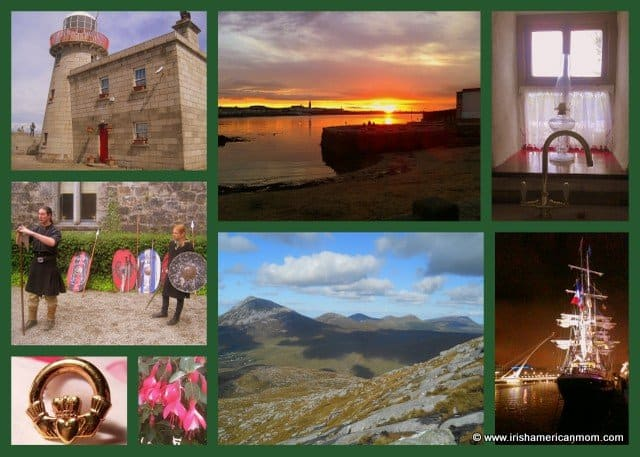 A collage of Irish images featuring mountains, a ship, a lighthouse, a cottage window, a sunset and a Claddagh ring