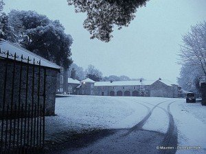 The courtyard in Doneraile House covered in snow