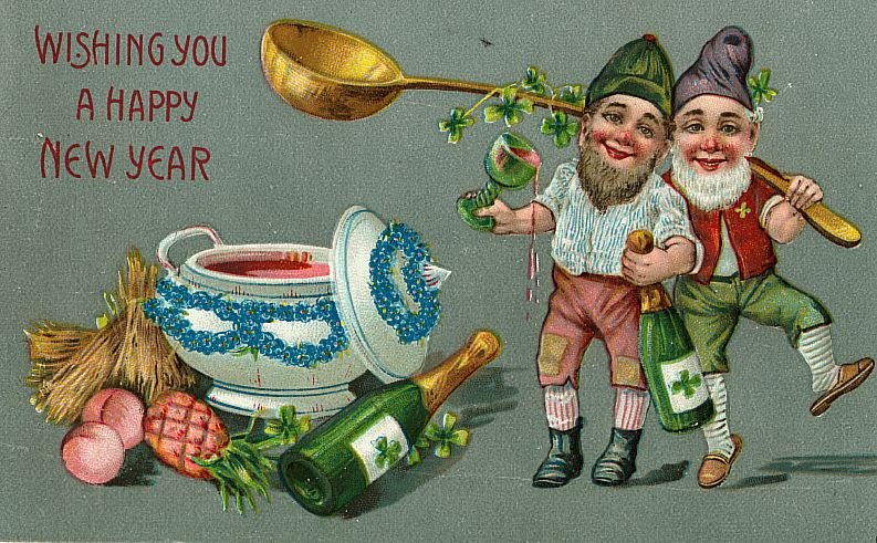 Two Irish leprechauns toast the New Year