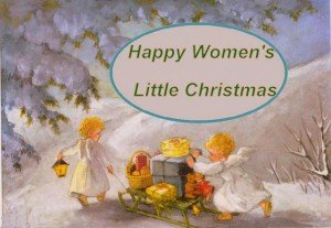Angels pulling a sled for Women's Little Christmas graphic