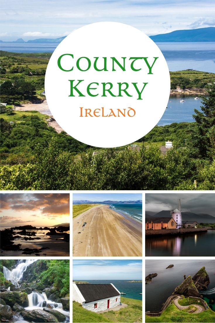 A photo collage featuring images of County Kerry Ireland including lakes the coastline, a sandy beach, a waterfall, a rural cottage and Irish scenery