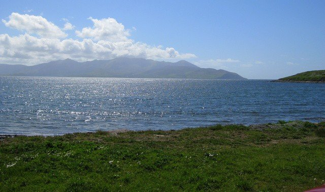 Looking across the ocean toward the Blasket islands from the mainland in County Kerry