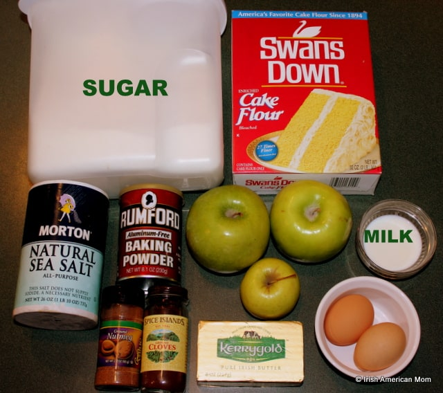 Flour, butter, sugar, apples, eggs and milk for Irish apple cake recipe