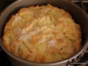 Golden crusted and sugar topped Kerry Apple Cake