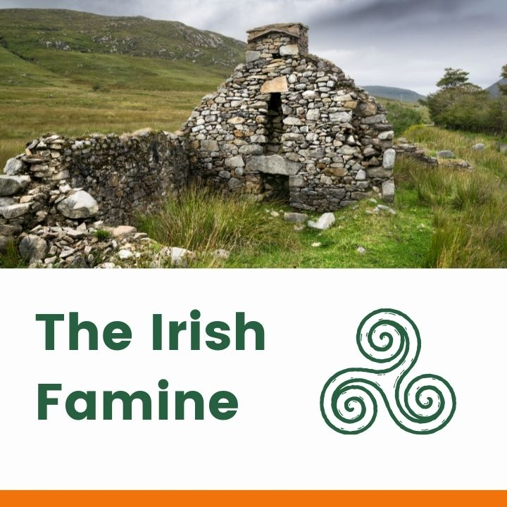 Ruined stone cottage over a text banner with Celtic Symbol